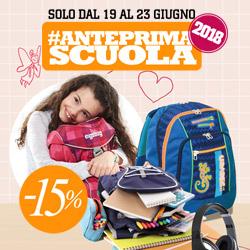 #AnteprimaScuola 2018-2019  - 15% su tutti i prodotti scuola.